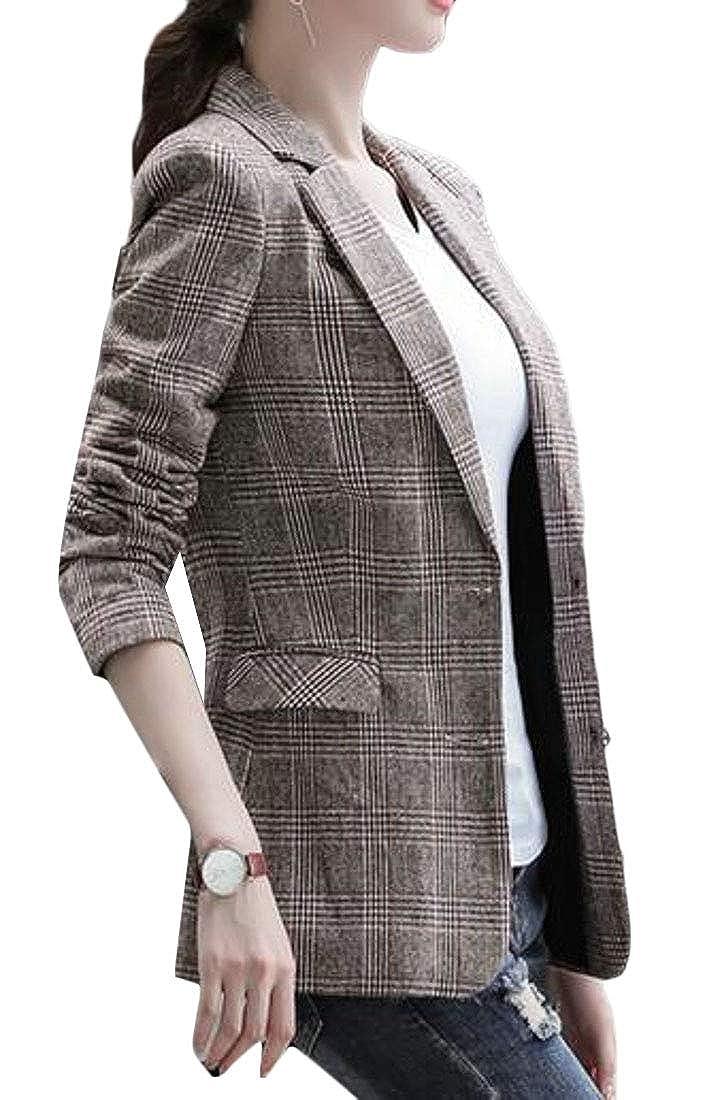 pipigo Men Business Plaid Short Sleeve Casual Top Dress Shirts