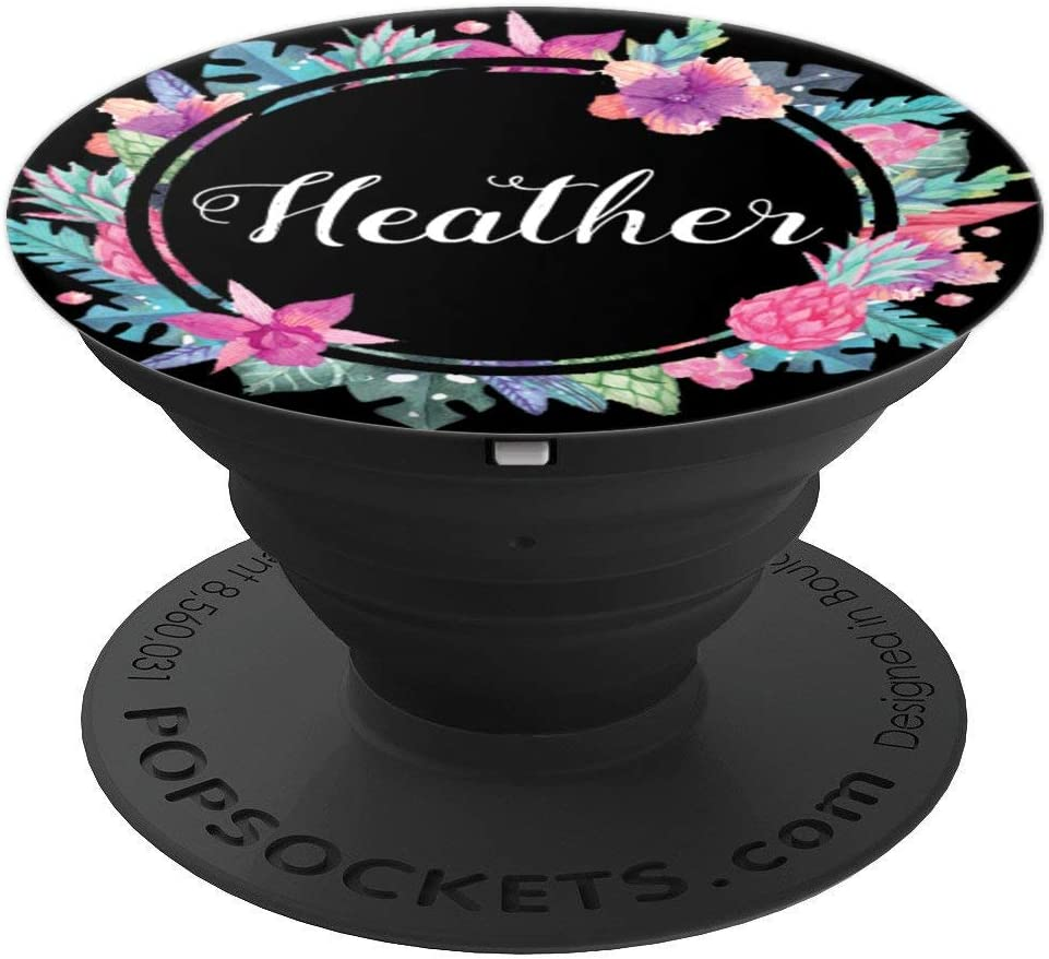 Amazon Com Heather Floral Black Background Flower Name Phone Grip