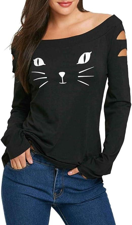 K-youth Camiseta para Mujer, Mujer Manga Larga Impresión Gato Camisa Casual Blusa Slim Tops Barata Atractivas Blusas Mujer Elegante Ropa de Mujer en Oferta Tallas Grandes T shrist (Negro, L): Amazon.es: Ropa