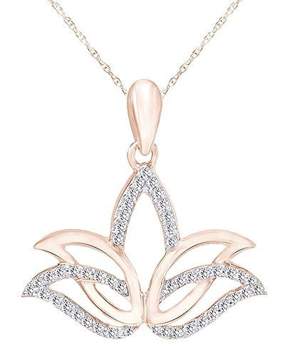 Amazoncom Wishrocks 110 Ct Round Natural Diamond Outline Lotus