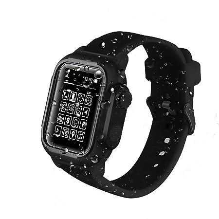 KUMARS - Funda Impermeable para Apple Watch, 42 mm/44 mm, Serie 2/3/4, con Correa de Silicona Suave, Resistente a los Golpes ya los Golpes, Robusta ...