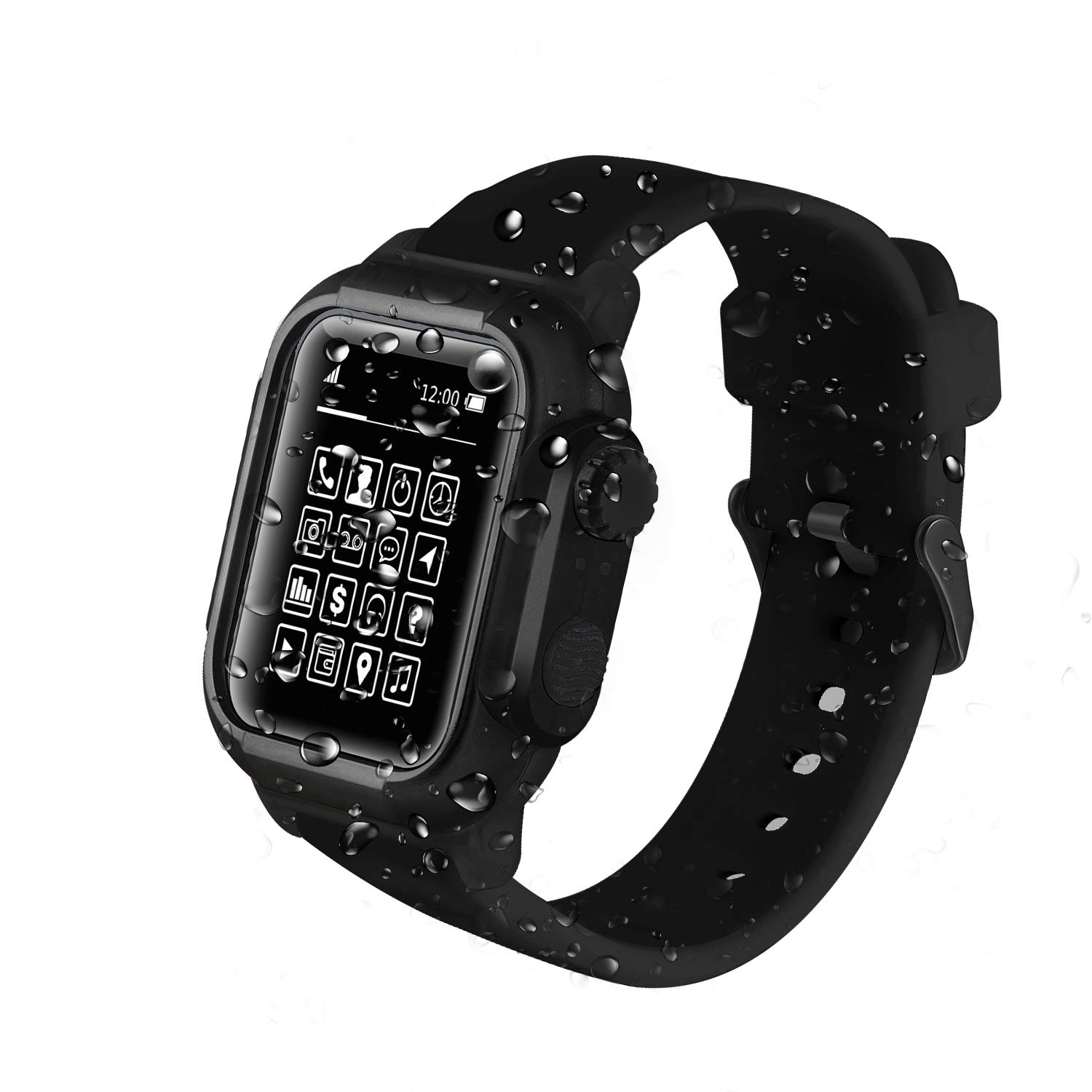 Waterproof Apple Watch Case Series 4 44mm with Premium Soft Silicone Apple Watch Band,Shock Proof Impact Resistant Rugged iWatch Protective Case for Apple Watch Series 4 44mm Black