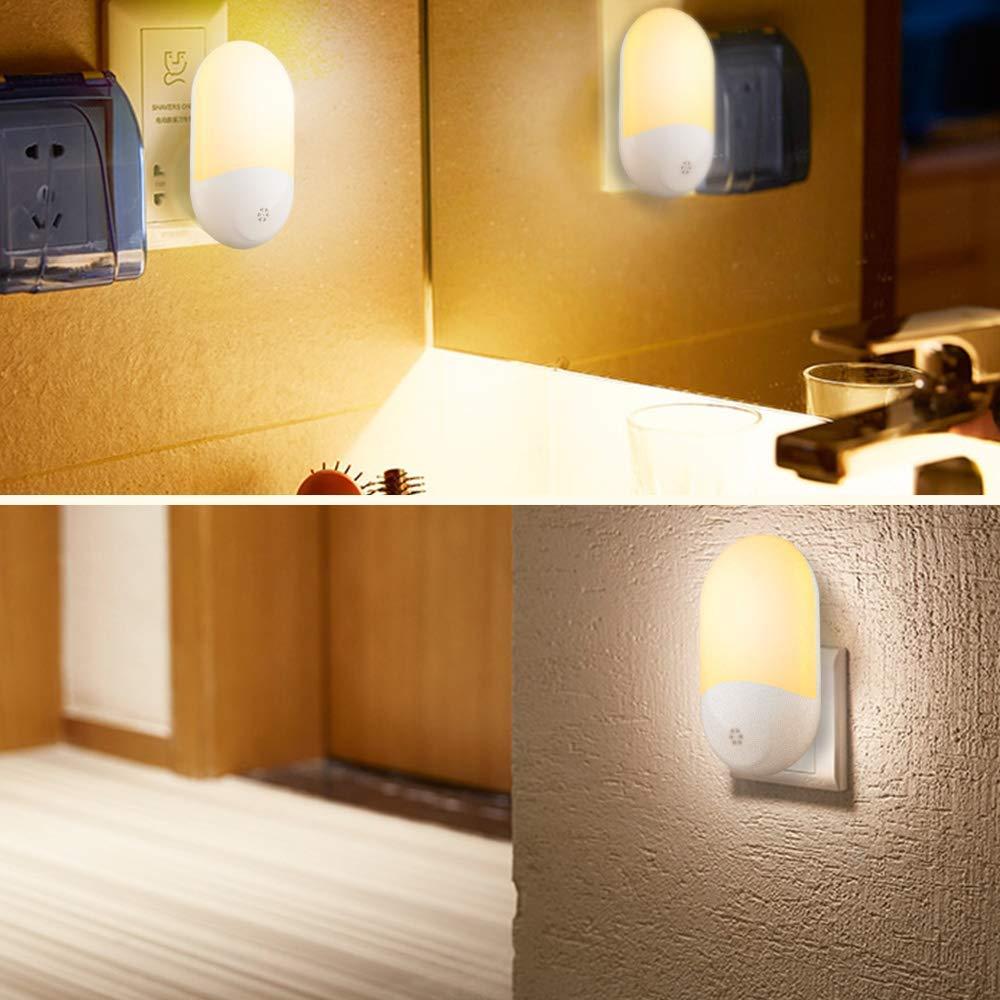Plug in Nachtlicht TOFOCO LED Nachtlicht Steckdose und Lichtsensor Baby Licht steckdosenlampe mit Auto ON//OFF f/ür Kinder Erwachsene Schlafzimmer Badezimmer Flur Treppen K/üchen 2 St/ück