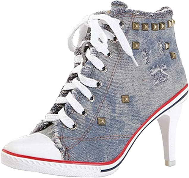 842d4406b86a Ghope Women Denim Canvas High Heels Sneakers Trainers High Top Ankle Wedge  Sneaker Rivet Sneakers (UK 5 (EU 38))  Amazon.co.uk  Shoes   Bags