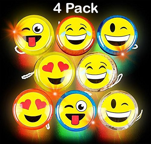 Kidsco Emoji Yoyo – 4 Pack Light Up Faces Yellow Smiling Yo-Yos - Summer Field Day and Everyday Kids Toy, Gift Or Party Favor - By
