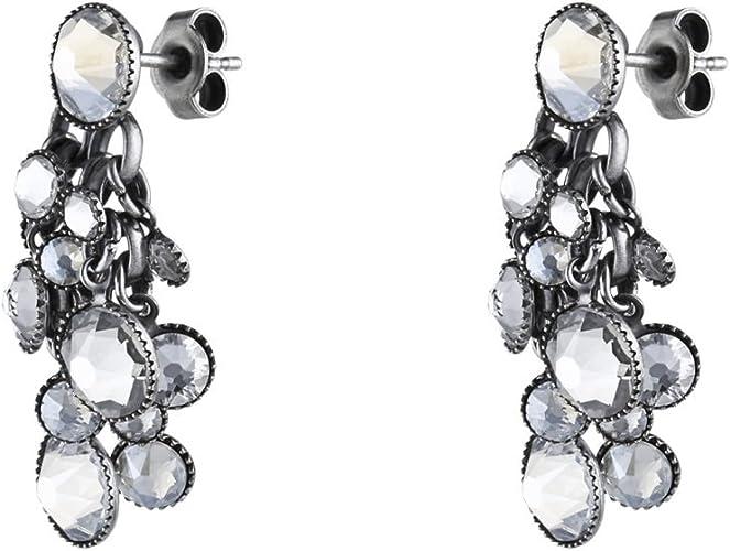 Konplott Damen Ohrhänger Waterfalls Silber Glas weiß 5450527979429