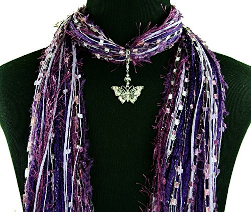 Crystal Butterfly Pendant Jewelry Necklace Scarf ~ Purple Blue Green Black ~ Multiple Scarf Colors Available ~ Boho Fringe Scarf ~ Detachable Pendant Option