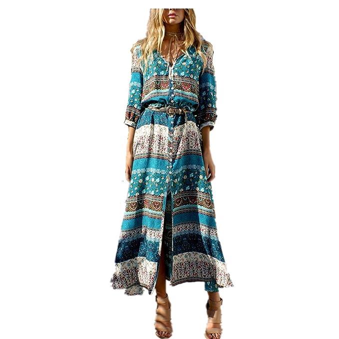Vestido Maxi Largo de Boho del Verano de Las Mujeres Vestido de Fiesta de Tarde de