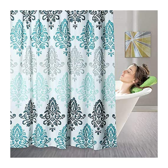 Yougai Shower Curtain for Bathroom with 12 Hooks, Polyester Fabric Machine Washable Waterproof Shower Curtains 72 x 72 Inch (Light Blue Damask) - Material of Bathroom Curtain: The shower curtain is made by 100% premium polyester fabric, which is made to withstand moisture-rich bathroom environments. with 12 plastic hooks, along with 12 metal grommets. Waterproof and Durable: Yougai grey shower curtain are extremely durable polyester fabric made, it prevents water splashing outside the bath area floor.Keep your home clean and fresh. Size: The shower curtain size of 72 x 72 inch will fit standard size shower / tub areas, No liner needed. - shower-curtains, bathroom-linens, bathroom - 617Y7MPHnaL. SS570  -