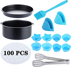 "Air Fryer Accessories 14 PCS for Phillips Instant Pot Nuwave Cozyna Ninja Air Fryer, Fit all 3.7-4.0-5.8QT Power Air Fryer XL with 7"" Cake Barrel, Pizza Pan, Silicone Baking Cups, 100 Fryer Liners"