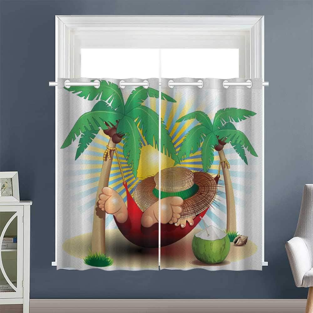 "Linhomedecor Design Darkening Curtains Exotic Summer Paradise Grommet 2 Panel Darkening Curtains Drapes/Draperies Multicolor (1 Pair, 42"" Width x 63"" Length Each Panel)"