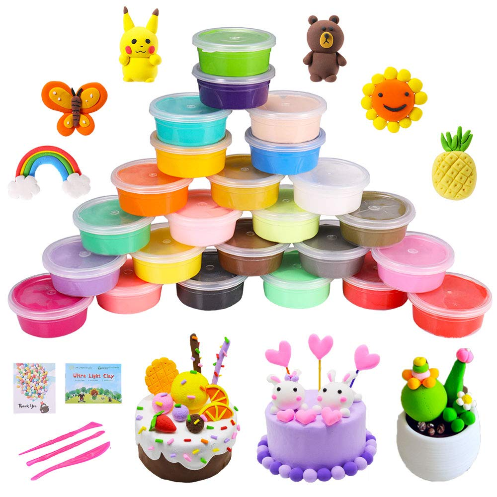 QMAY 24 Colors Air Dry Clay, Ultra Light Modeling Clay, Magic Clay Polymer Clay Artist Studio Toy, Creative Art DIY Crafts, Gift for Kids(Modeling Dough with Project Booklet) ...