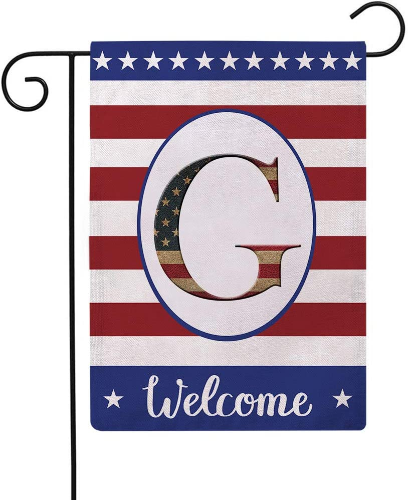 Patriotic Decorative Flag Initial Letter Garden Flags with Monogram G Double Sided American Independence Day Flag Welcome Burlap Garden Flags 12.5×18 Inch for House Yard Patio Outdoor Decor(G)