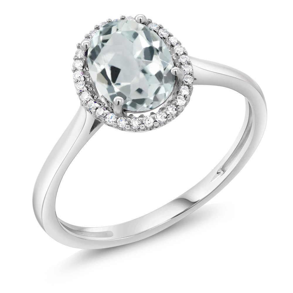10K White Gold Diamond Halo Engagement Diamond Ring 1.10 Cttw with Oval Sky Blue Aquamarine (Ring Size 9)