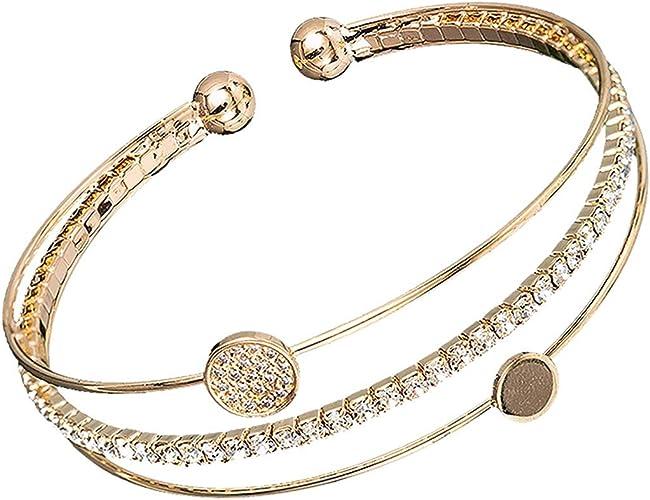 Women/'s Ladies Elegant Crystal Cubic Zirconia Flower Design Cuff Bangle Bracelet