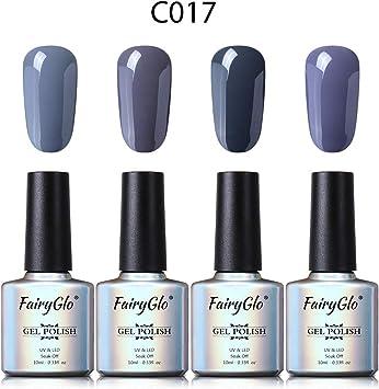 Esmalte de Uñas Semipermanente Uñas de Gel UV LED Kit de Manicura Serie de Color Gris 4pcs Manicura y Pedicura de Fairyglo-C017: Amazon.es: Belleza