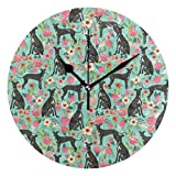 HCMusic Round Italian Greyhound Dog Wall Clock- Non Ticking Digital Quiet Sweep Clock, Decorative for Office Living Room Bedroom, 10 Inch