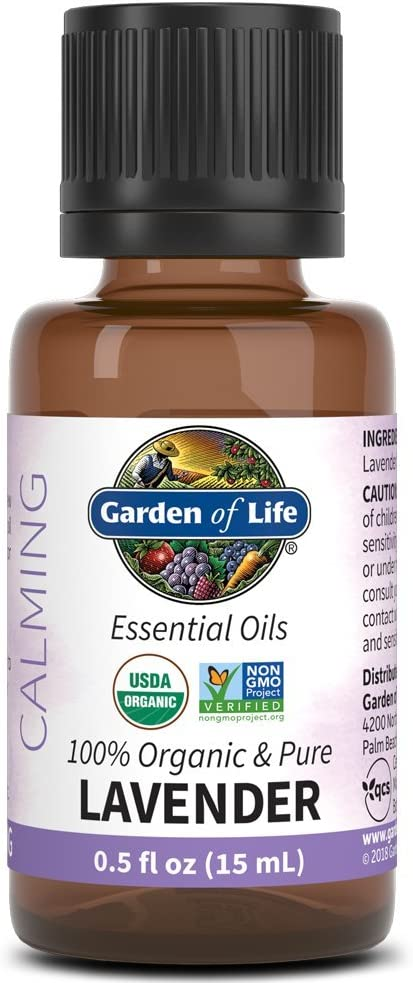 Garden of Life Essential Oil, Lavender 0.5 fl oz (15 mL), 100% USDA Organic & Pure, Clean, Undiluted & Non-GMO - for Diffuser, Aromatherapy, Meditation, Skincare, Sleep - Calming, Relaxing, Soothing