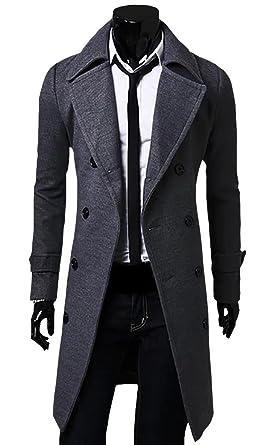 0c9e0a1c2ee7 Herren Zweireiher Lange Mantel Seemannsjacke PEA Coat Wolle Mischung Tweed  Jacke Cabanjacke Schwarz