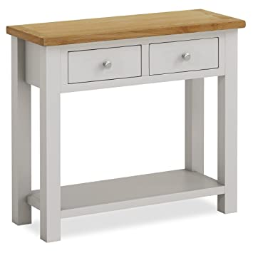 I Roseland Furniture Farrow Painted Console TableHall TablePainted Stone  Grey Oak Top U0026
