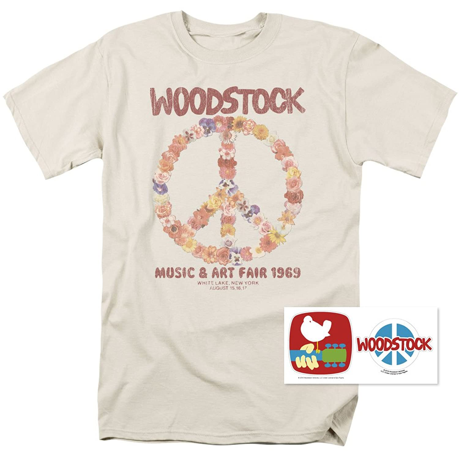 Popfunk Woodstock Peace Symbol T Shirt and Exclusive Stickers (Large)