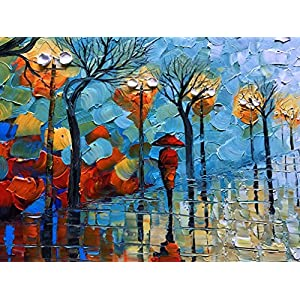 baccow 2448 Large Abstract Hand Painted Artwork Painting on Canvas Patelle Knife Evening Walk Landscape Oil Paintings Wall Art Framed Decorative Pictures Lving Room Bedroom Office Ready to Hang