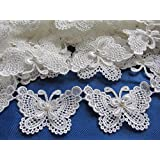 "YYCRAFT Butterfly 3"" Lace Edge Trim Pearl Wedding Applique DIY Sewing-White(5 Yards)"