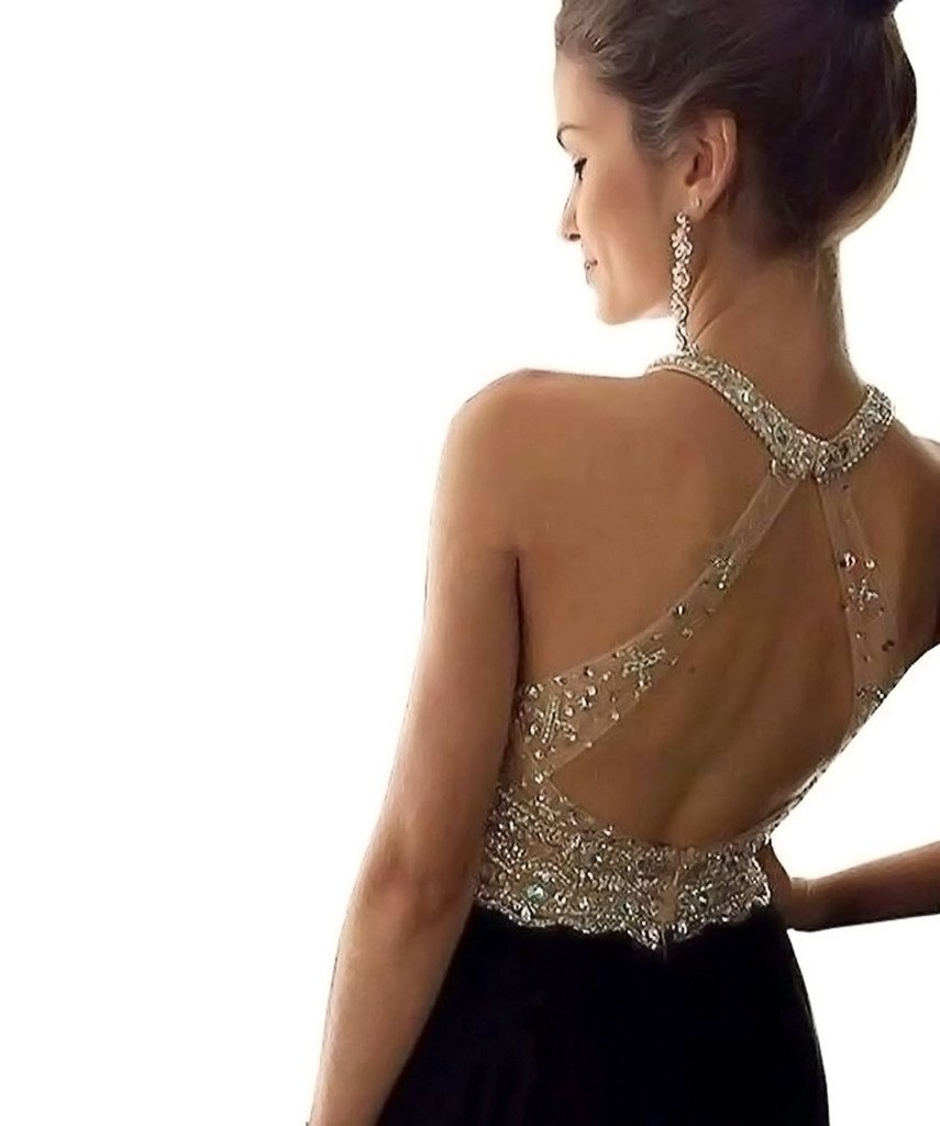 YuNuo Sparkly Crystal Beading Prom Dresses Long 2018 Sexy Open Back Party Ball Gown Scoop Bridesmaid Dresses Black-US22W