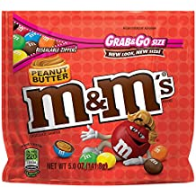 M&M'S Peanut Butter Chocolate Candy Grab & Go Size 5-Ounce Bag (Pack of 8)