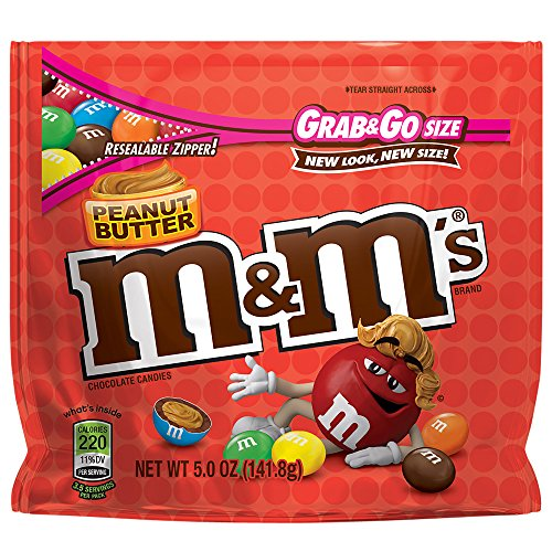 - M&M'S Peanut Butter Chocolate Candy Grab & Go Size 5-Ounce Bag (Pack of 8)