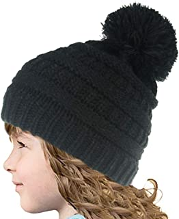 GIMEFIVE Kids Girls Boys Winter Knit Beanie Hats Faux Fur Pom Pom Hat Bobble Ski Cap Toddler Baby Hats 1-7 Years Old