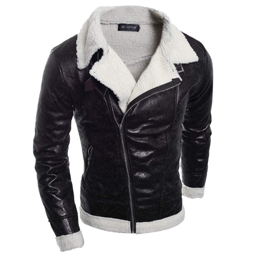 KAOKAOO Mens Warm Fur Liner Lapel Zip up Fitted Faux Leather Outwear Moto Jacket