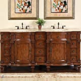 Silkroad Exclusive Travertine Stone Top Double Sink Bathroom Vanity with Furniture Bath Cabinet, 72-Inch