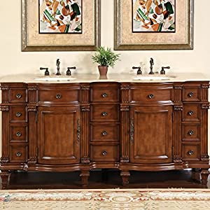 picture of Silkroad Exclusive Travertine Stone Top Double Sink Bathroom Vanity with Furniture Bath Cabinet, 72