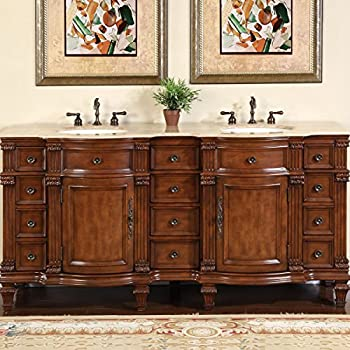 This Item Silkroad Exclusive Travertine Stone Top Double Sink Bathroom Vanity With Furniture Bath Cabinet 72 Inch