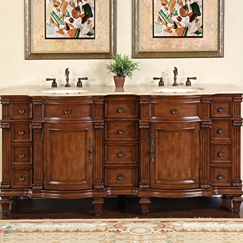 "Silkroad Exclusive Travertine Stone Top Double Sink Bathroom Vanity with Furniture Bath Cabinet, 72"", Medium Wood"