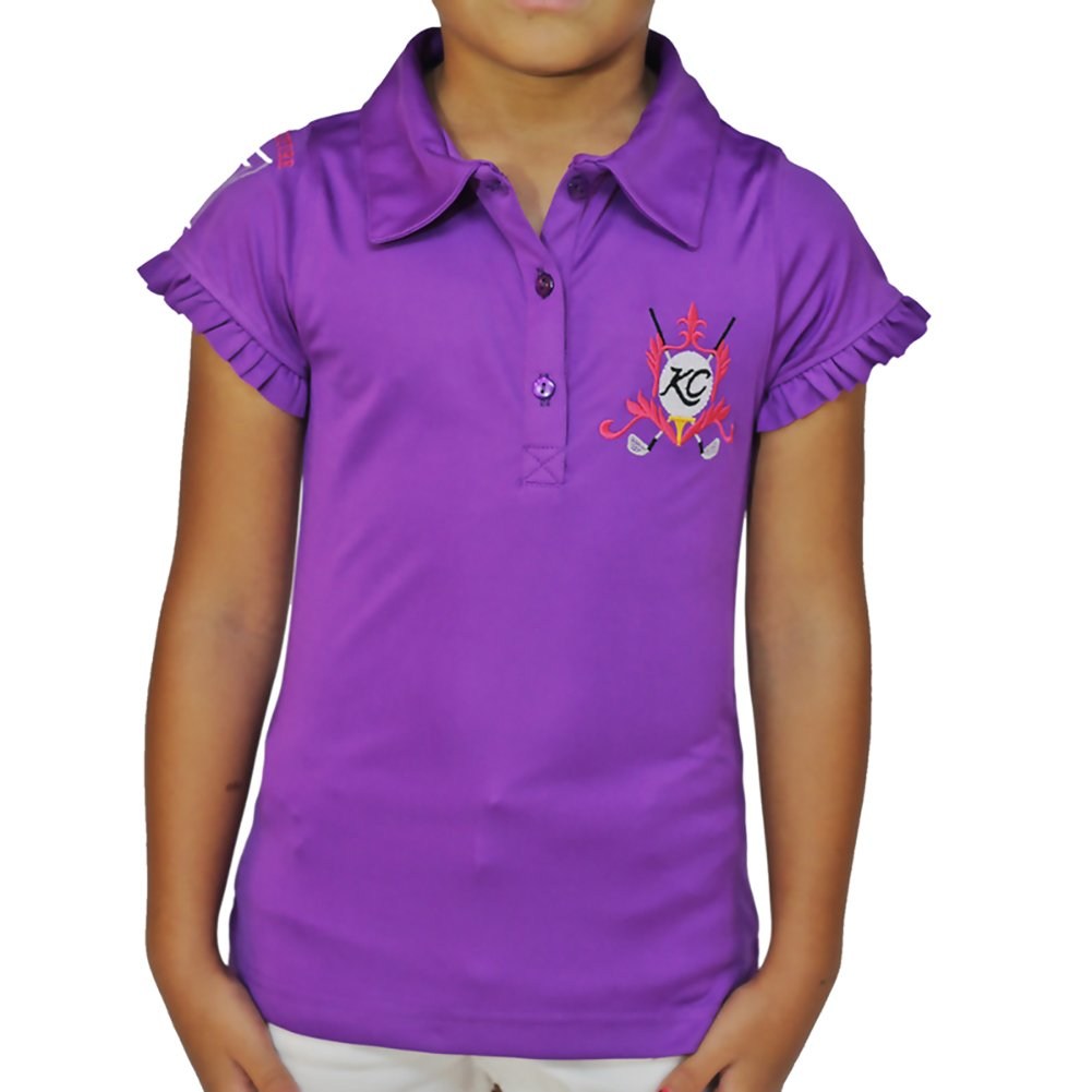 Kissi Couture Little Girls Golf Polo Shirt with Princess Of Golf Bling XS Purple