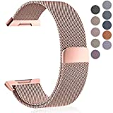 Maledan Metal Bands Compatible with Fitbit Ionic, Stainless Steel Milanese Loop Replacement Accessories Bracelet Strap with Magnet Closure for Fitbit Ionic Smart Watch, Rose Gold, Small