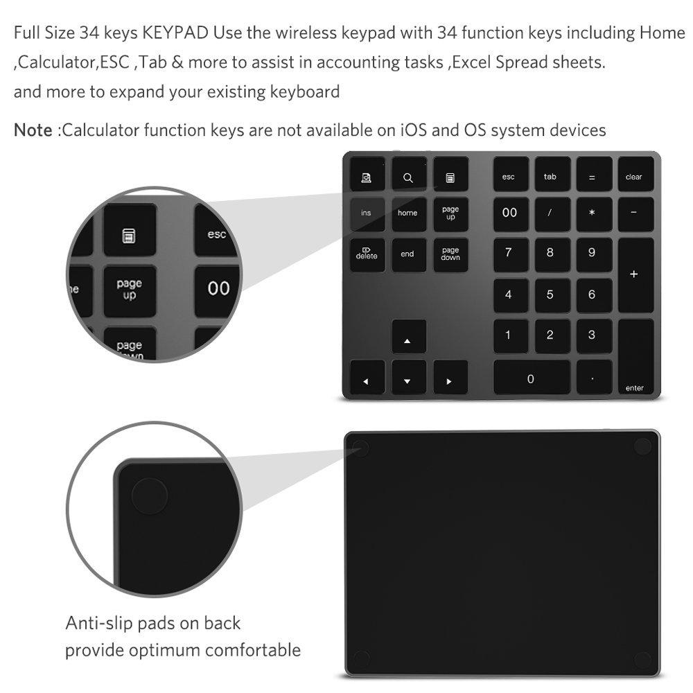 Teclado numérico Bluetooth, IKOS Teclado numérico externo Bluetooth de 34 teclas con múltiples accesos directos para computadora portátil Windows Surface ...
