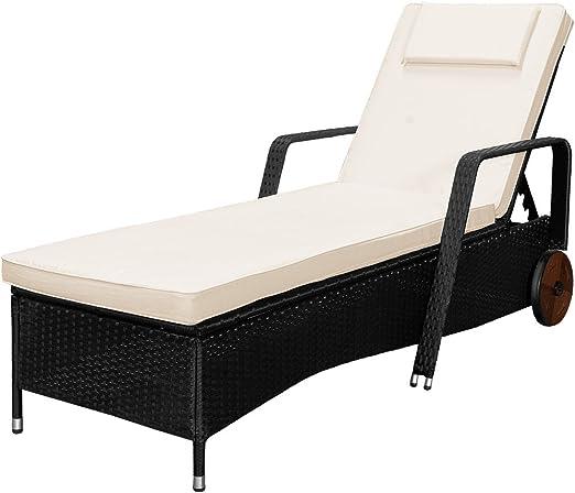 Negro Día Cama reclinable de jardín – tumbona de ratán muebles de jardín al aire libre mimbre: Amazon.es: Jardín