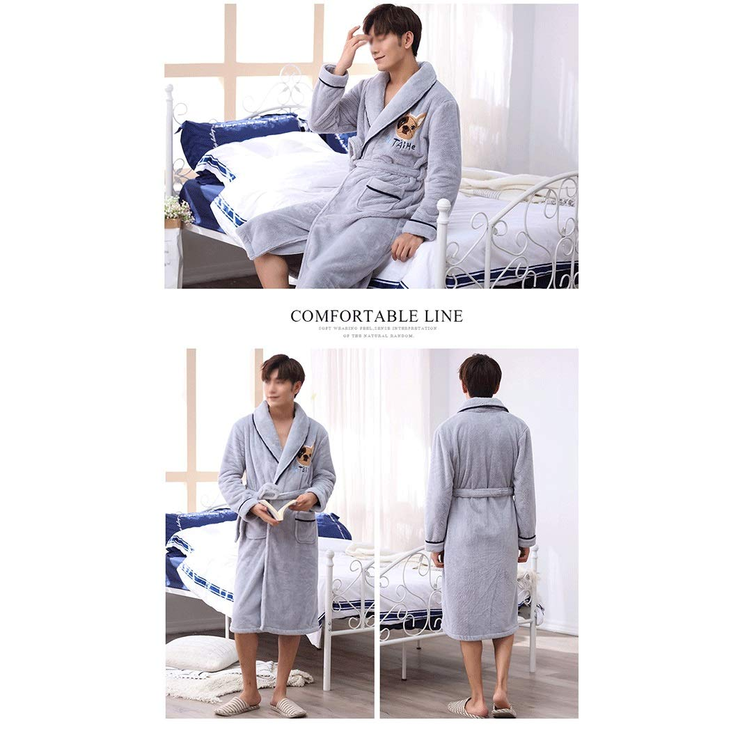 Color : Gray, Size : XL YUNHAO Nightwear Mens Autumn and Winter Flannel Pajamas Bathrobes Thickened Long Section Home Service Bathrobe A