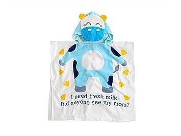 Huertuer Toallita de Dormitorio Cartoon Animal Albornoz Bebé con Capucha Toalla de baño Capa Linda de la Vaca, Azul Cielo 60 × 120cm Toalla Cómoda: ...