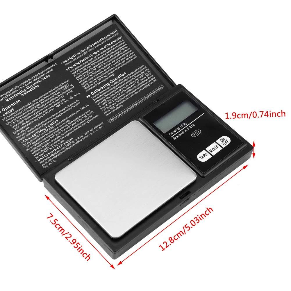 1KG Mini Portable Haute Pr/écision LED Num/érique Balance De Poche Or Argent Diamant Bijoux Pierre En Acier Inoxydable Mat/ériel 100g//0.01g