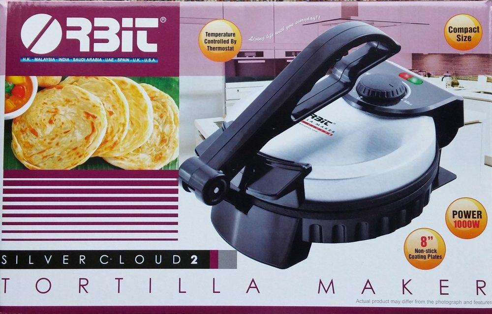Orbit Silver Cloud 2 Tortilla Maker with Temperature Control, 8''/1000 Watt, Silver