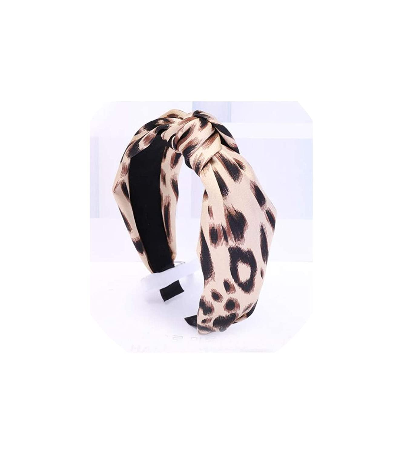 Vintage Bohemian Color Leopard Satin Knotted Hairband Pattern KnotHair Accessories,Beige