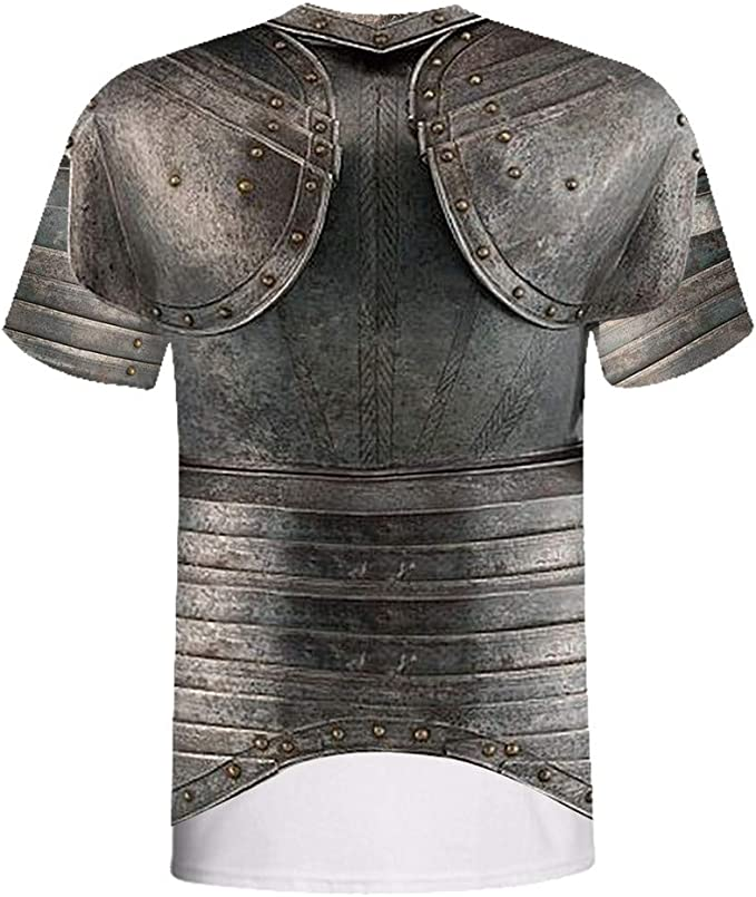 Lelili Men Vintage Medieval Knight Armor Printing T-Shirt O-Neck Short Sleeve Casual Pullover Fashion 3D Printed Party Tops