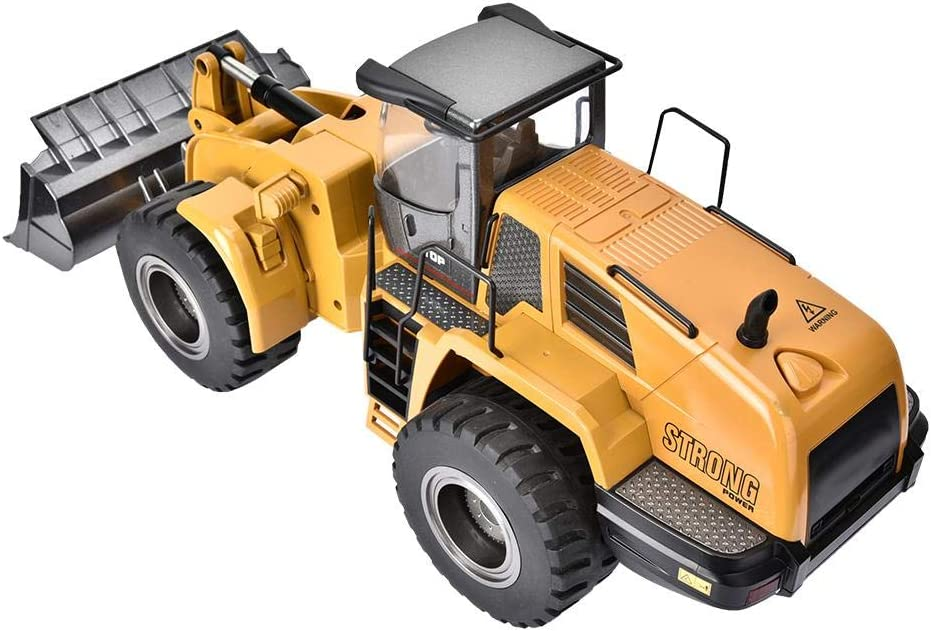 Soulong 583 Alloy Bulldozer Truck Remote Control Fully Automatic Bulldozer Bulldozer Alloy Remote Control Vehicle Engineering RC Bulldozer Truck Flashing LED Integrated