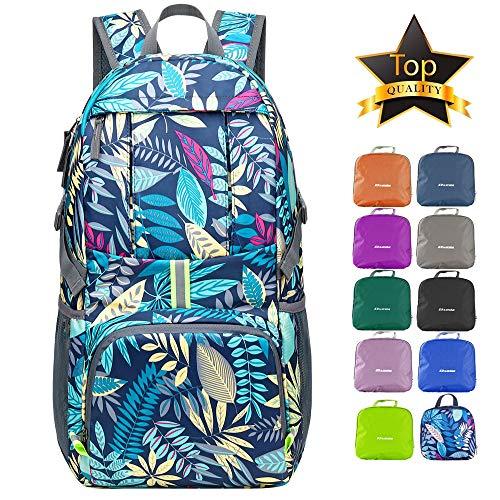 DVEDA Ultra Lightweight Packable Backpack, 35L Large Capacity Water Resistant Hiking Daypack Foldable Travel Backpack for Men Women Outdoor,Blue Leaf