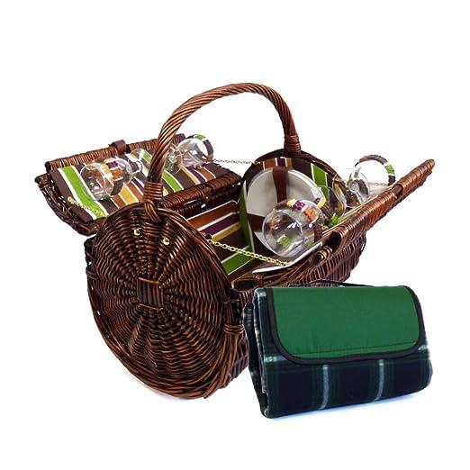 Cesta de picnic de mimbre con Encanto Cantley para 4 personas con accesorios a juego - una idea ideal del regalo para el cumpleaños, boda, ...