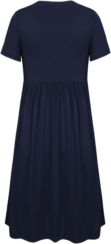 Aibrou Umstandskleid Umstandsnachthemd Damen Stillnachthemd Schlafanzug Lang Kurzarm V Ausschnitt Nachthemden f/ür Schwangere oder stillende Frauen